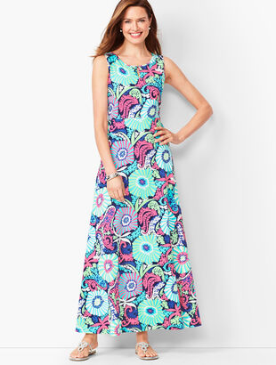 Filigree Floral Jersey Maxi Dress