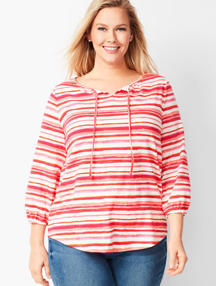 Gathered Tie-Neck Top - Watercolor Stripe