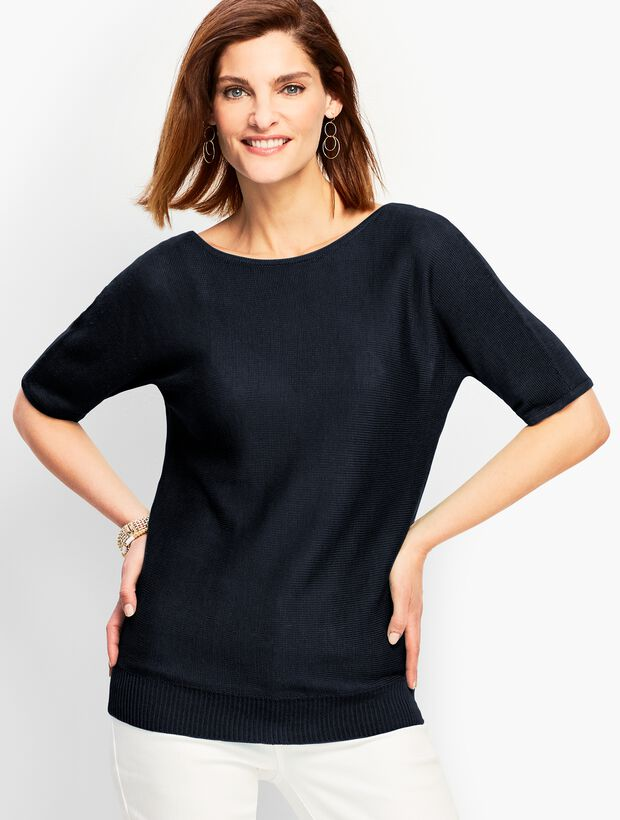 Dolman-Sleeve V-Back Sweater