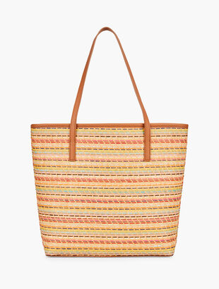 Leather Trim Stripe Tote