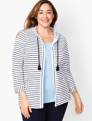 Three-Quarter Sleeve Stripe Jacket
