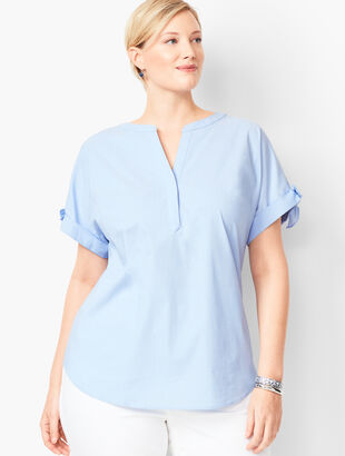 Tie-Sleeve Poplin Shirt - End-On-End