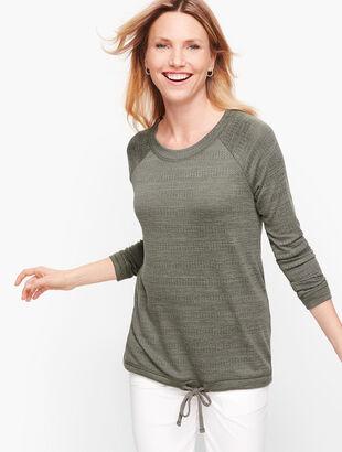 Pointelle Stripe Raglan Pullover
