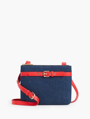 Denim Double Zip Crossbody Bag