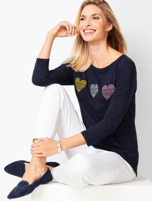 Striped-Heart Bateau-Neck Tee