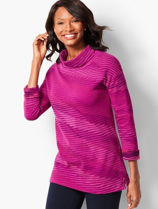 Tonal Stripe Cowlneck Top