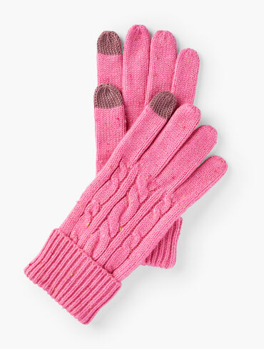 Tweed Cable Knit Gloves