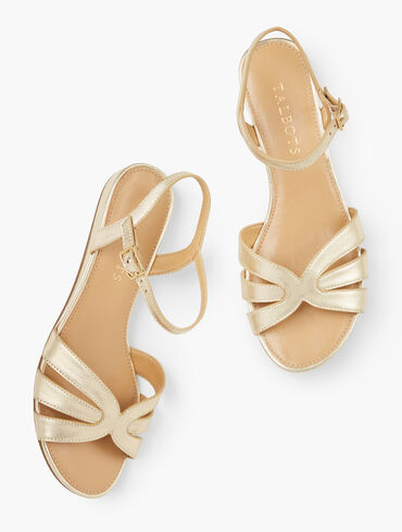 Daisy Micro Wedge Sandals - Metallic