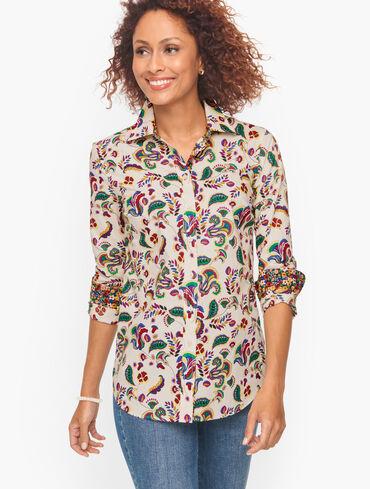 Cotton Button Front Shirt - Colorful Foulard