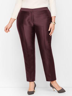 Plus Size Silk Gazar Tailored Ankle Pants