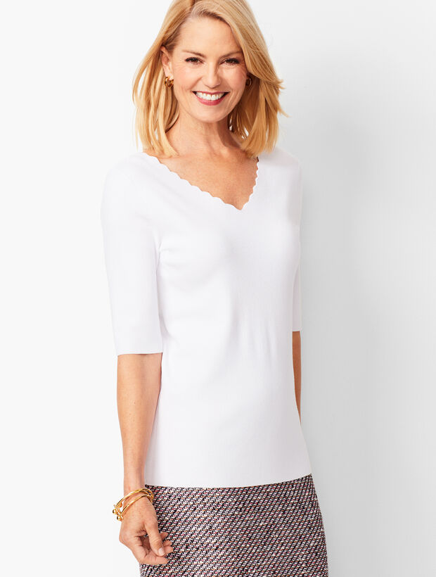40b53db331 Images. Scallop-Trim V-Neck Sweater