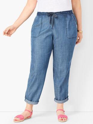 Drawstring Cuffed Pants - Tencel™