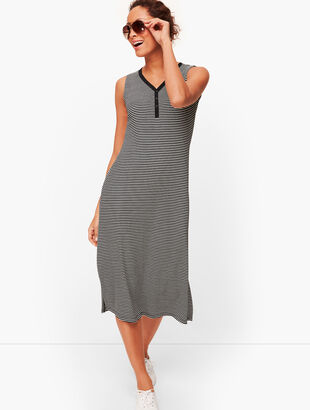 Stripe Sleeveless Henley Dress