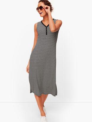 Stripe Sleeveless Henley Dress