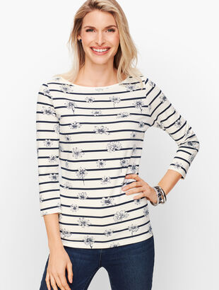 Cotton Bateau Neck Tee - Daisy Stripe