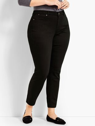 Plus Size Exclusive Comfort Stretch Denim Slim Ankle Jeans-Curvy Fit/Black