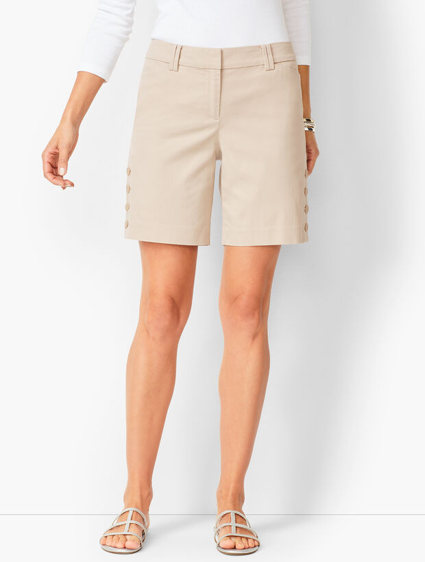 Button-Hem Shorts - Solid