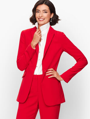 Stretch Crepe Long Blazer