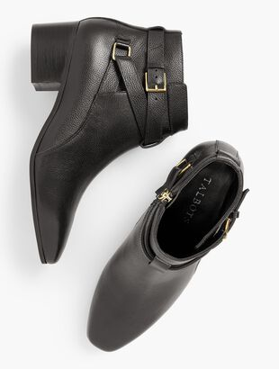 Dakota Block Heel Ankle Boots - Pebble Leather