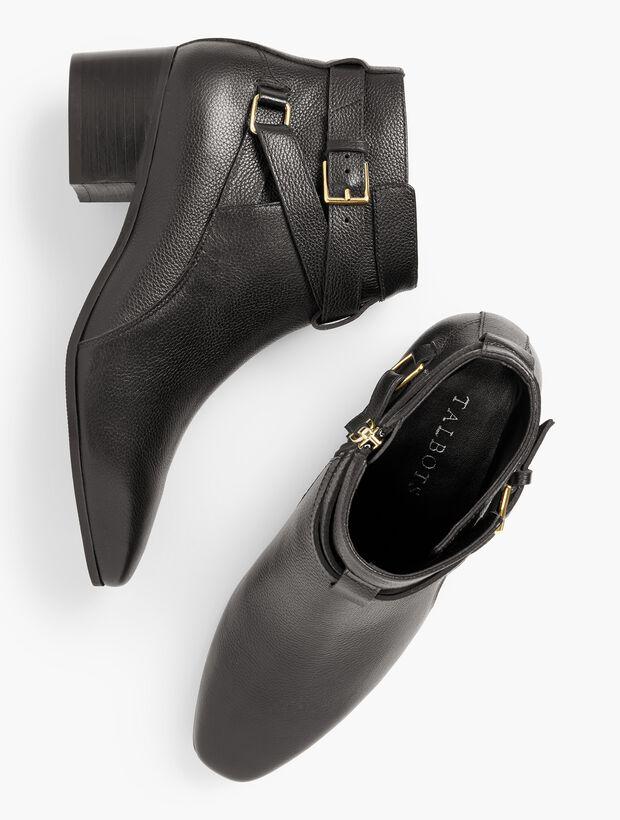 Dakota Block Heel Ankle Boots - Pebble Leather