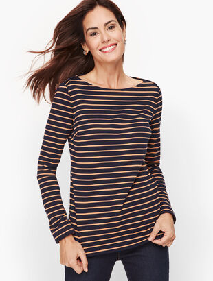 Envelope Neck Stripe Top