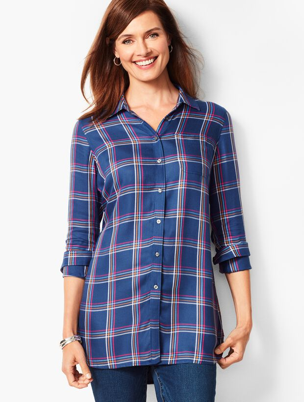 Buckingham Plaid Longer-Length Perfect Shirt