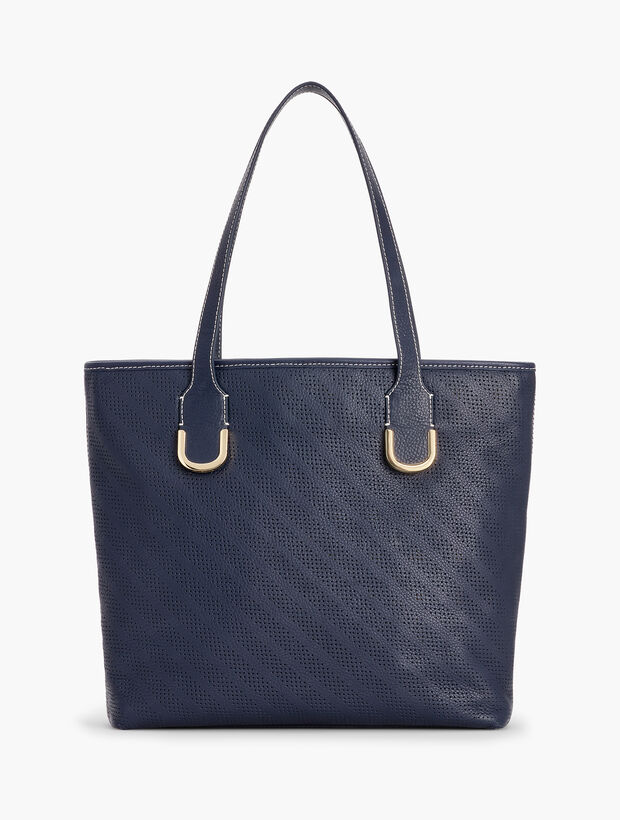 Stripe Pebble Leather Tote