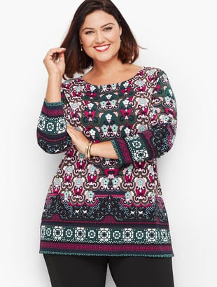 Knit Jersey Scroll Print Tunic