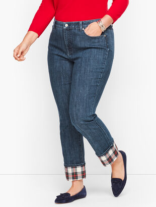 Plaid Cuff Straight Leg Jeans