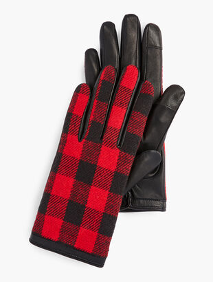 Buffalo Check Leather Touch Gloves