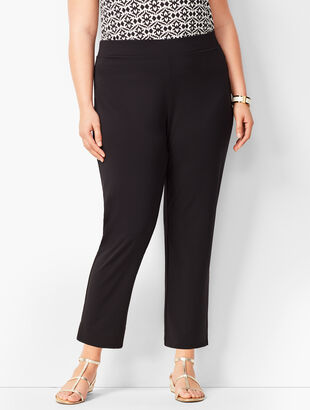 Plus Size Knit Jersey Tapered Ankle Pants