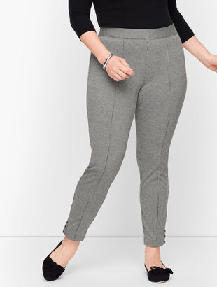 Plus Size Ankle Snap Ponte Leggings - Check