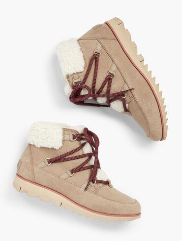 Sorel Harlow™ Shearling Trim Waterproof Suede Ankle Boots