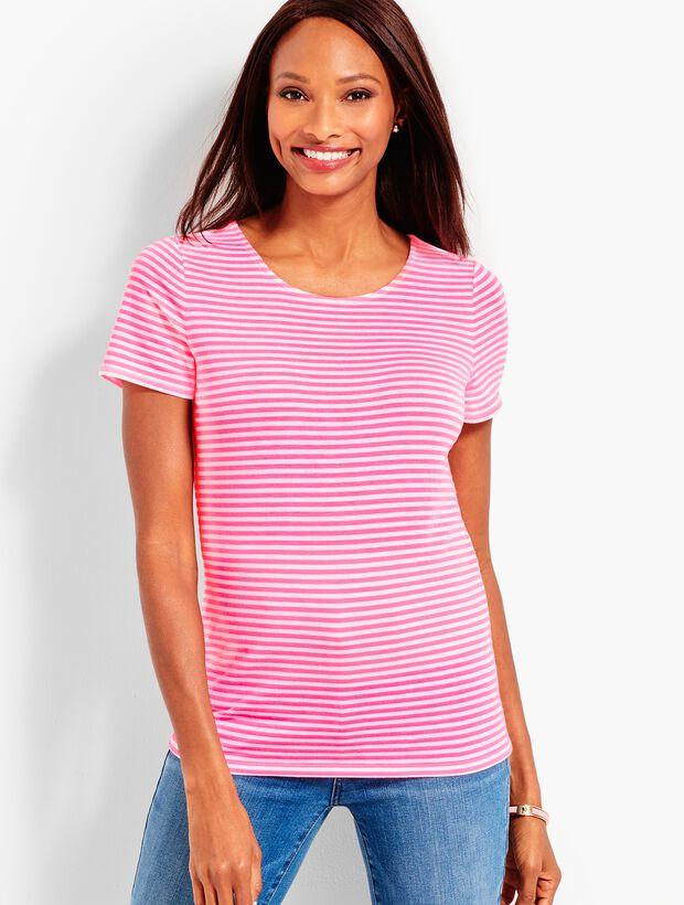 Pima Cotton Tie-Back Tee - Neon Stripe
