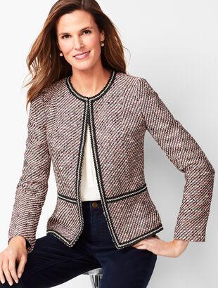 Grosgrain-Trim Tweed Jacket