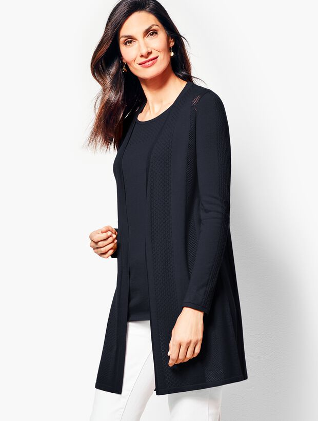Long Pointelle No-Close Cardigan