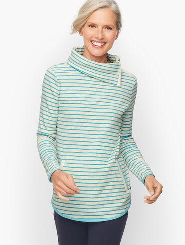 Split Neck Pullover - Sleigh All Day Stripe