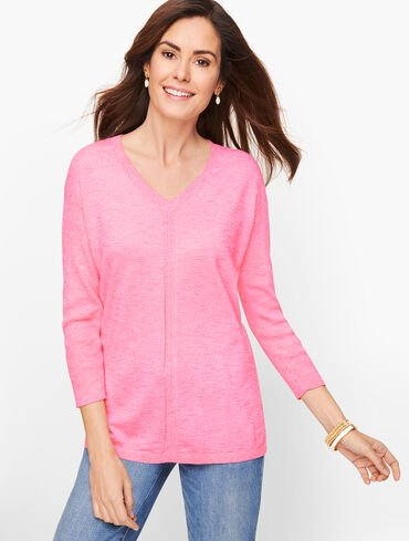 Cotton V-Neck Sweater - Marled