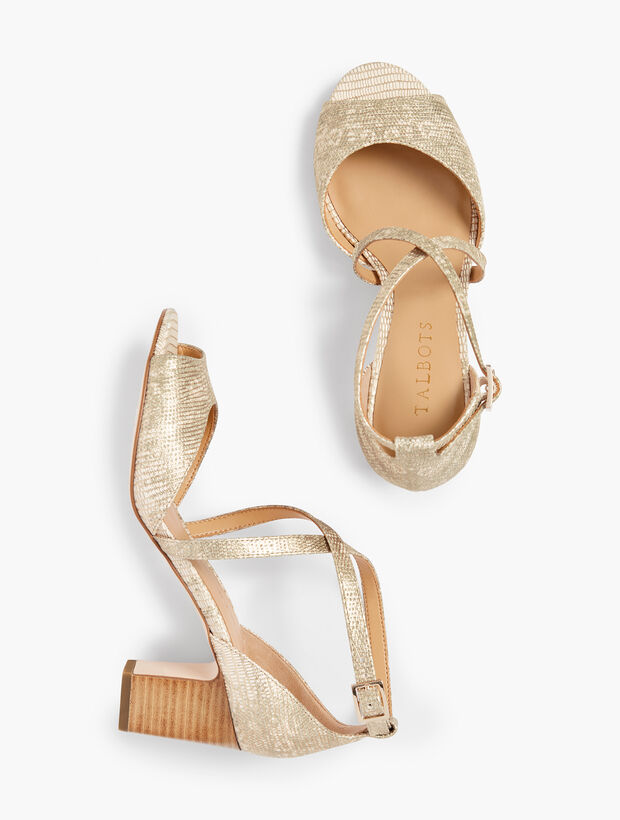 Gisela Cross-Strap Sandals - Metallic