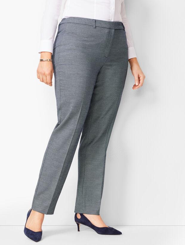 Bi-Stretch High-Waist Straight-Leg Pants - Birdseye
