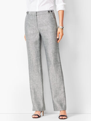 Talbots Windsor Linen Wide-Leg Pants - Herringbone