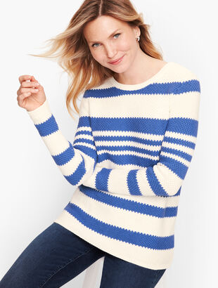 Textured Stripe Cotton Sweater