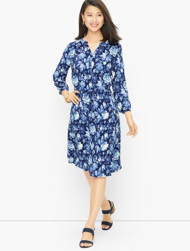 Tie Waist Shirt Dress - Floral Toile