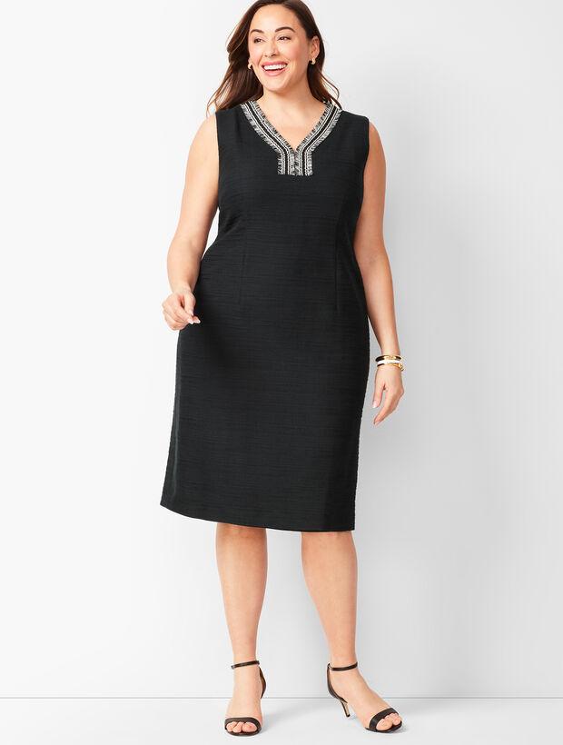 Tweed-Fringe Shift Dress