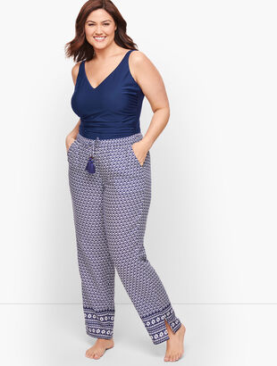 Crinkle Cotton Beach Pants - Geo Print