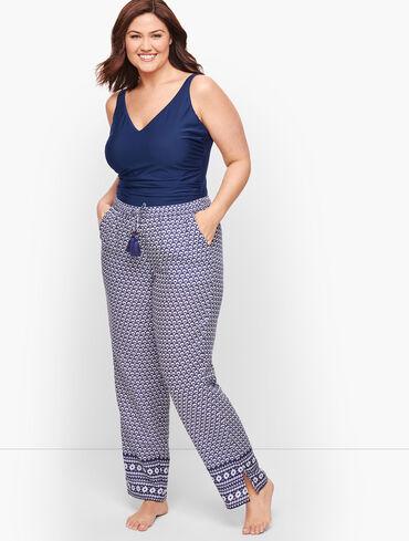 Crinkle Cotton Beach Pants - Geo Print