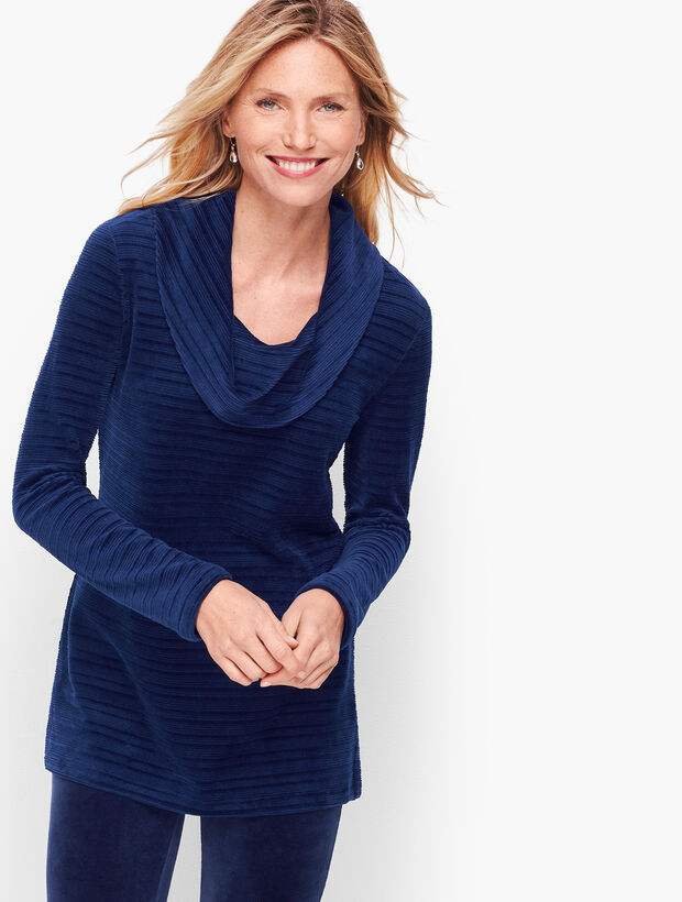 Luxe Velour Textured Stripe  Pullover
