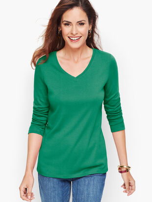 Ribbed Pima V-Neck Tee