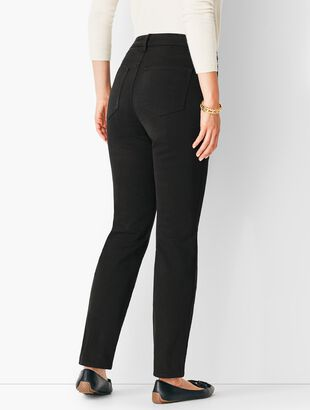 High-Rise Straight-Leg Jeans - Never Fade Black