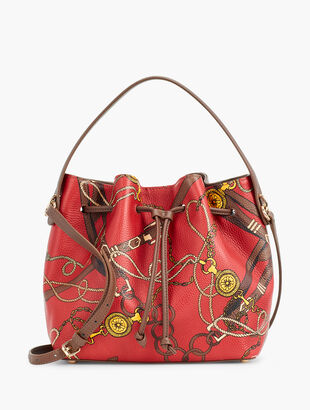Equestrian Print Pebbled Leather Drawstring Bucket Bag